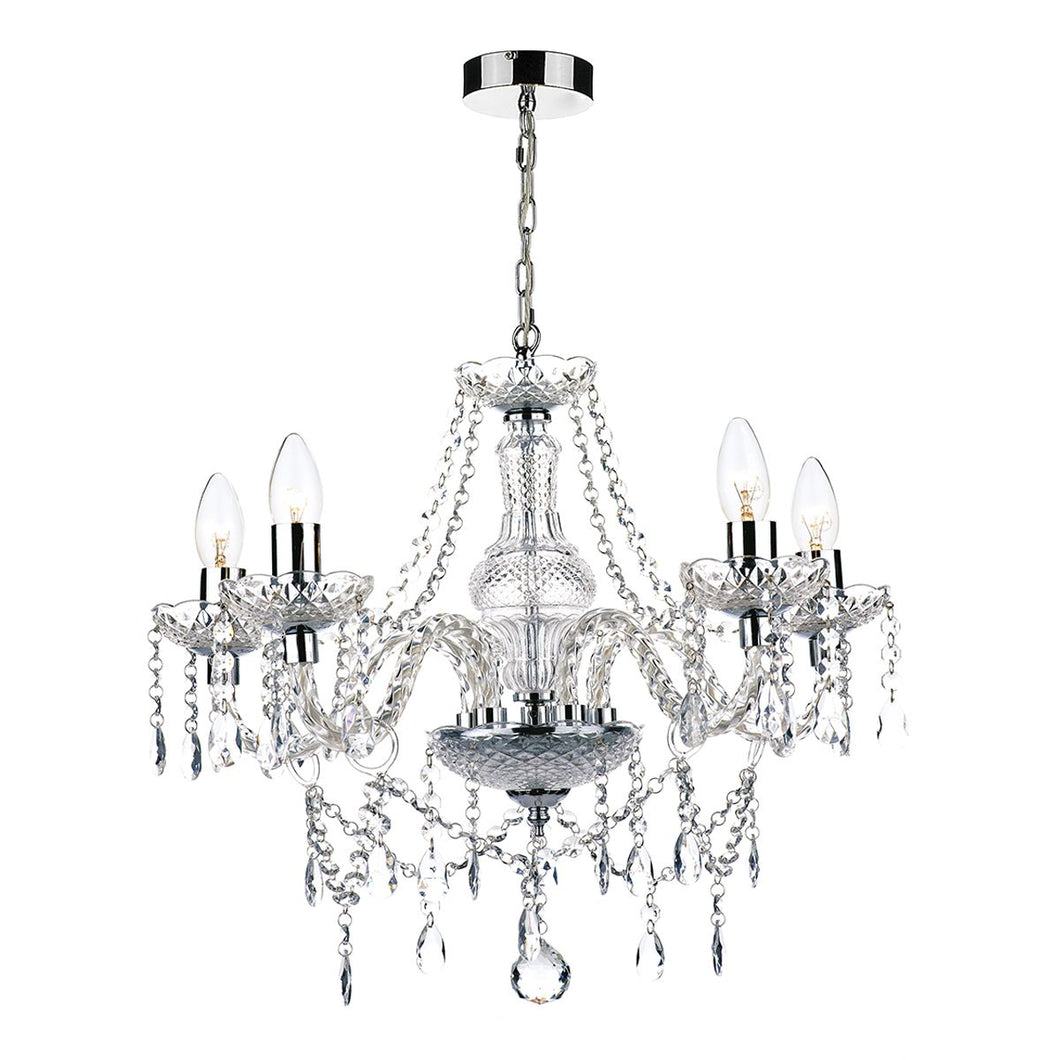 Katie 5 Light Chandelier Polished Chrome Acrylic Glass