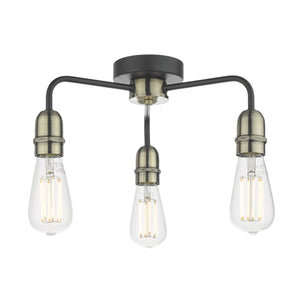 Kiefer 3lt Flush Black & Antique Brass
