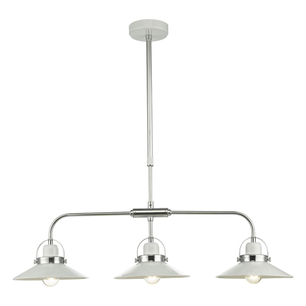 Liden 3Lt Bar Pendant White and Polished Chrome