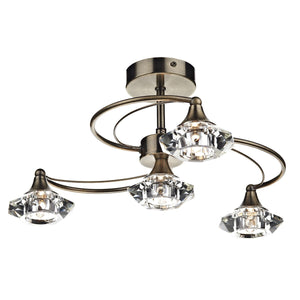 Luther 4 Light Semi Flush Antique Brass Crystal