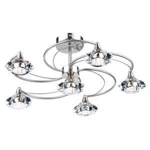 Luther 6 Light Semi Flush Satin Chrome Crystal