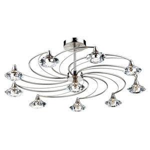 Luther 10 Light Semi Flush Satin Chrome Crystal
