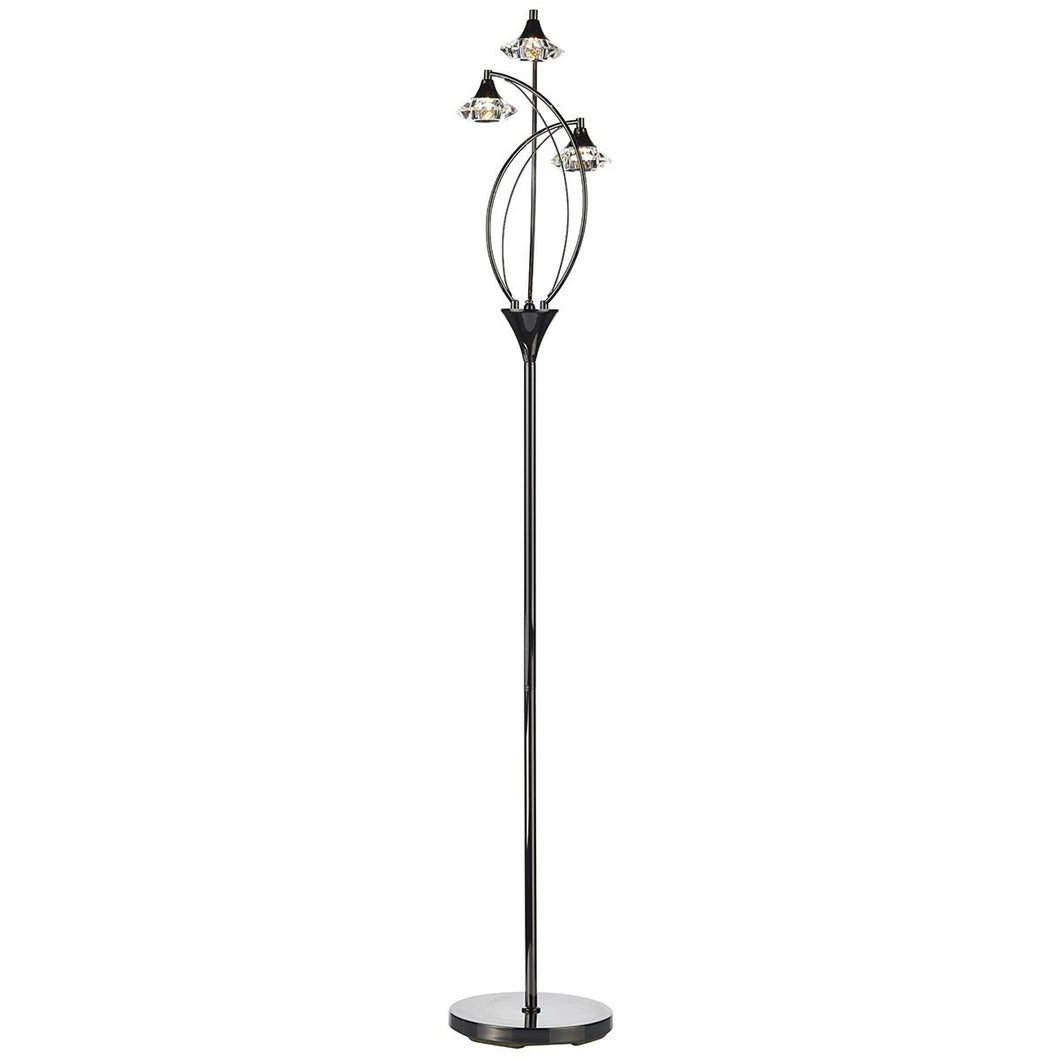 Luther 3 Light Floor Lamp Black Chrome Crystal