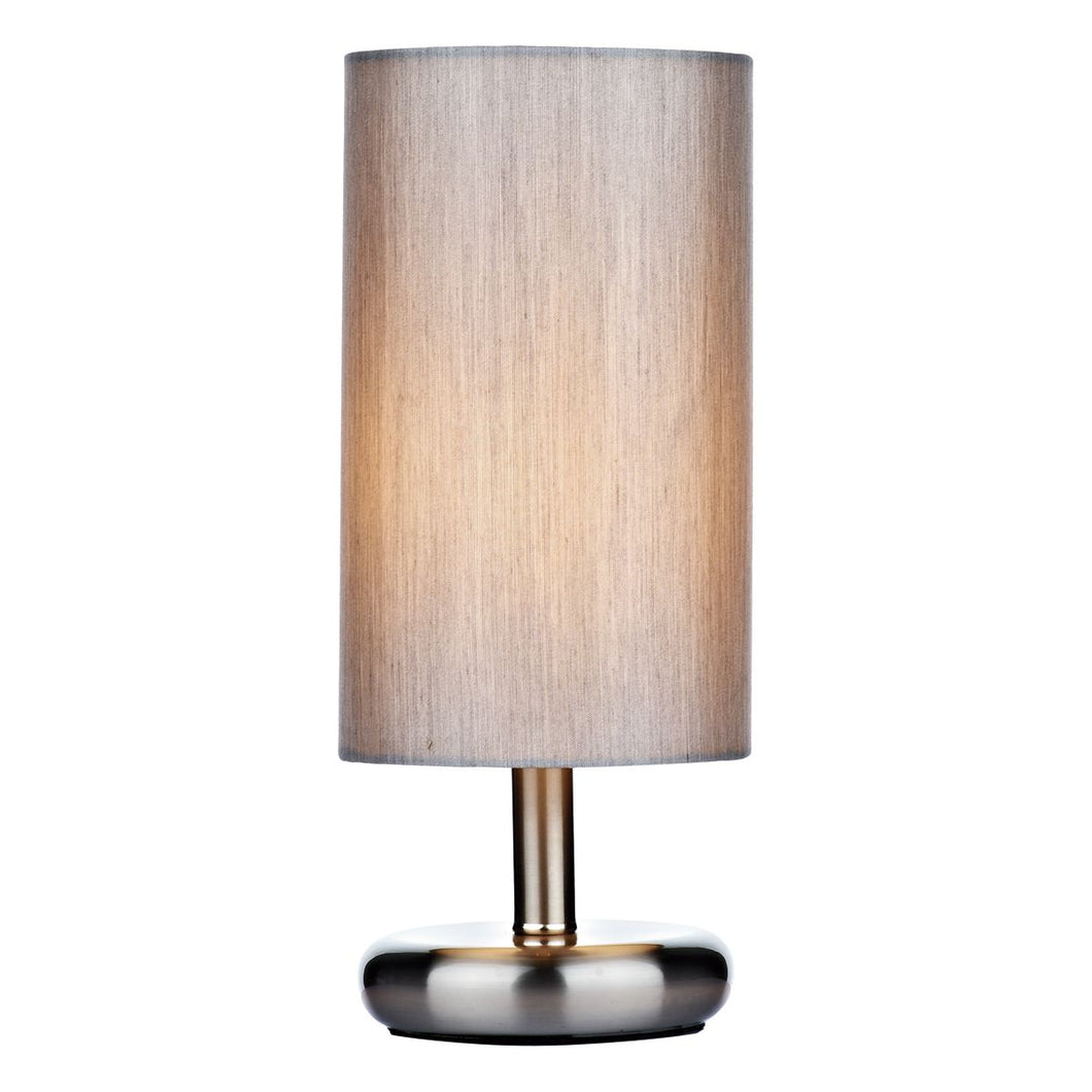 Tico Touch Table Lamp Satin Chrome complete with Grey Shade