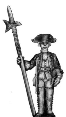1756-63 Saxon Musketeer sergeant, at attention with halberd (28mm)