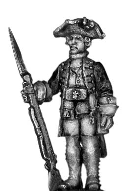 1756-63 Saxon Fusilier officer, at attention with musket (28mm)