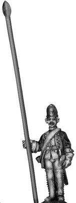 1756-63 Saxon Fusilier standard bearer, at attention (28mm)