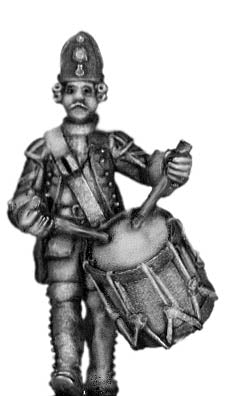 1756-63 Saxon Fusilier drummer, marching (28mm)