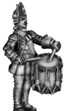 1756-63 Saxon Fusilier drummer, at attention (28mm)