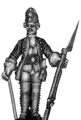1756-63 Saxon Fusilier sergeant, at attention with musket (28mm)