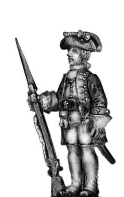 1756-63 Saxon Grenadier officer, at attention with musket (28mm)
