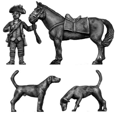 George Washington with horse and dogs (28mm)