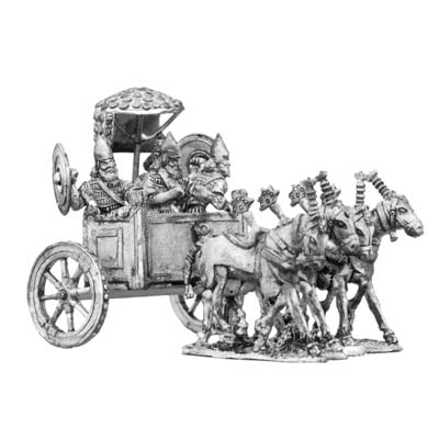 Assyrian King's four horse chariot and crew (28mm)