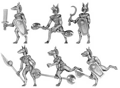 Anubis jackal warrior with hand weapons (28mm)