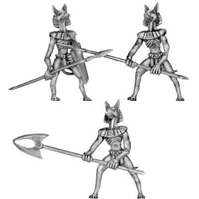 Anubis jackal warrior with pole arms (28mm)