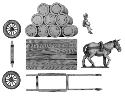 Flatbed mule cart with oil drums (28mm)