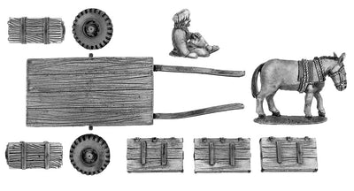 Flatbed mule cart with boxes (28mm)