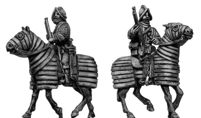 Mounted Arquebusier on barded horse (28mm)