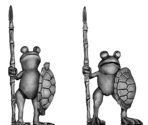 Pond Wars Frog with spear and turtle shell shield (28mm)