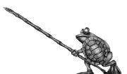 Pond Wars Frog with pike advanced and turtle shell shield - front ranker (28mm)