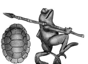 Pond Wars Frog marching with spear (28mm)