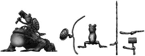 Pond Wars Frog Cavalry on toad mount with assorted hand weapons (28mm)
