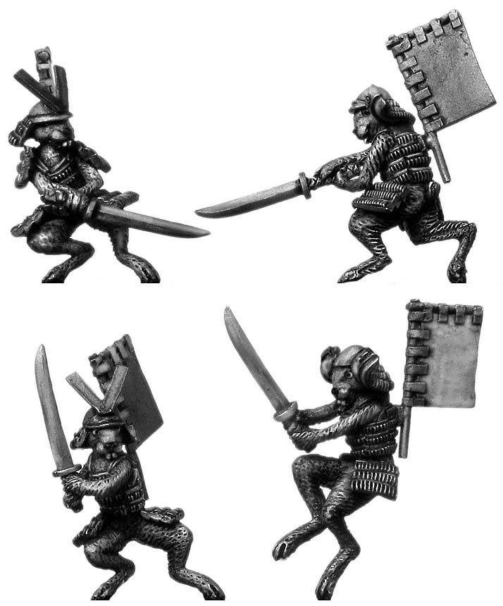 Pond Wars Rabbit Samurai in helmet, back banner, with katana (28mm)
