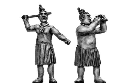 Maori musicians with bullroarer or conch (28mm)