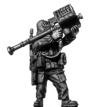 1960-80s US trooper in MOPP gear with Stinger anti-aircraft missile (28mm)