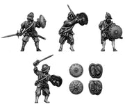 Sword and buckler man in armour (28mm)