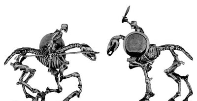 Skeletal horse and rider, with ancient Greek weapons (28mm)