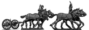 Four horse limber, cantering, with two civilian drivers (28mm)