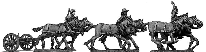 Six horse limber, cantering, with three civilian drivers (28mm)