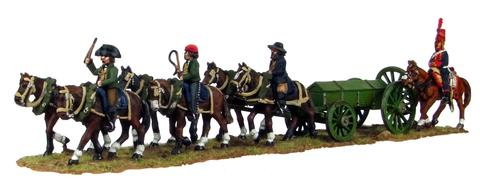 Six horse caisson, walking, with three civilian drivers (28mm)