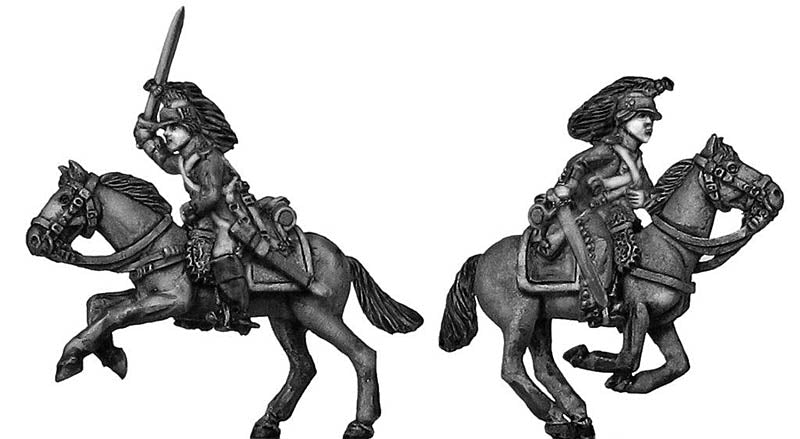 Dragoon charging, improvised campaign equipment (28mm)