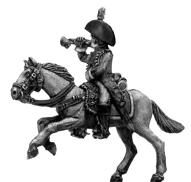 Heavy cavalry trumpeter charging (28mm)