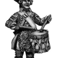 Russian Musketeer drummer, coat with lapels and collar, marching (28mm)