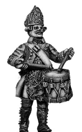 Russian Fusilier drummer, coat with lapels and collar, marching (28mm)