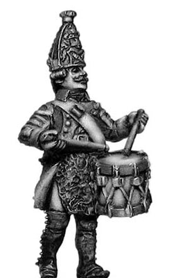 Russian Grenadier drummer, coat with lapels and collar, marching (28mm)