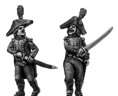 Light Infantry officer c1793-1800, bicorne, regulation long tail (28mm)