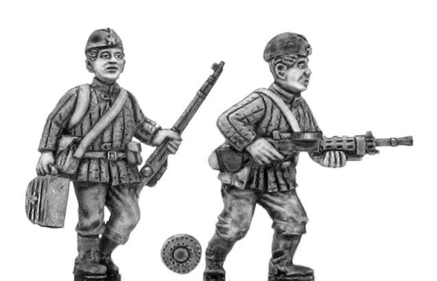 Soviet infantry LMG team in side cap (28mm)
