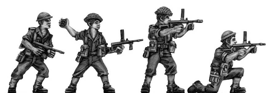 Australian infantry attacking, helmet, Owen gun (28mm)