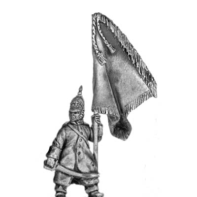 Russian Infantry Standard Bearer in greatcoat and helmet (18mm)