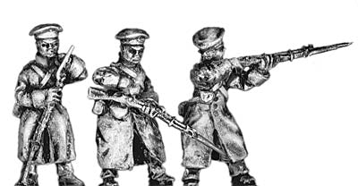 Russian infantry in greatcoat and cap, firing and loading (18mm)