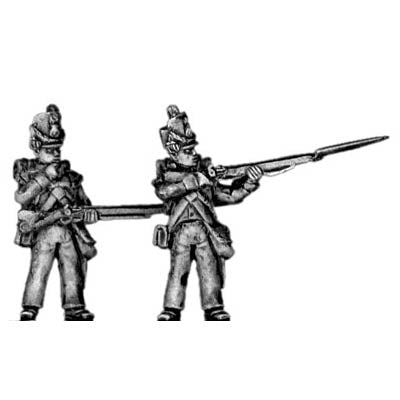 Flank company, firing and loading, shako cords and plume (18mm)