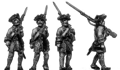 French musketeer, no turnbacks, marching (18mm)