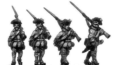French musketeer, turnbacks, marching (18mm)