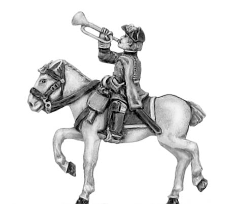 Regiment of horse trumpeter in tricorn (18mm)