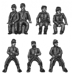 Caisson team (riders in kepi) - six horses, caisson and crew (15mm)