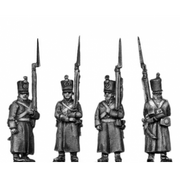 Musketeer, shako, greatcoat, march attack (18mm)